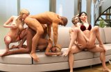 Naked orgy in sexy adult mobile games