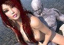 Amazing naked redhead girl rides on iceman dick