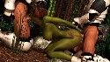 Green elf fucked by two cyborg boys